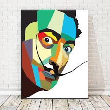 2017 zz1785 salvador dali watercolor pop art oil painting face
