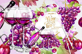 wine clipart wine and grapes clipart illustrations creative market