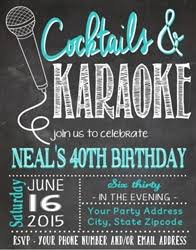 birthday invitation karaoke chalkboard karaoke