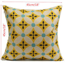 vintage geometric flower cotton linen throw pillow case cushion