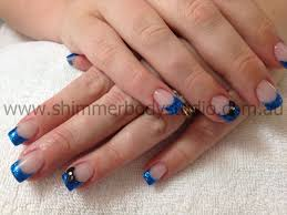 gel nails colour nails blue nails 3d nail art black bows