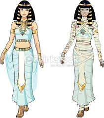 Cartoon Illustration Of Egyptian Queen And Mummy Vector Art