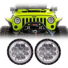 jeep rubicon blue 7 inch round blue clover led headlights pair jeep wrangler