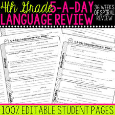 4th grade daily language spiral review morning work editable by