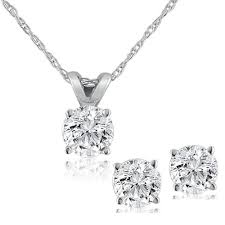 white gold studs diamond solitaire necklace studs earrings set 3 4 carat 14k