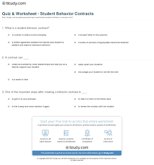 Quiz  amp  Worksheet   Student Behavior Contracts   Study com Study com Print Student Behavior Contracts  Examples and Templates Worksheet