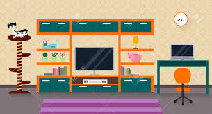 interior of a living room with furniture tv and a cute cat with