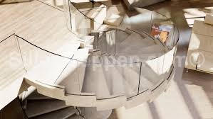 helical staircase concrete steps without risers contemporary