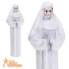 White Halloween Costume Ladies White Ghost Scary Mary Halloween Fancy Dress Costume 6