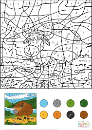 yak color by number free printable coloring pages