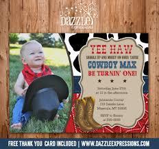 printable western cowboy birthday photo invitation free thank