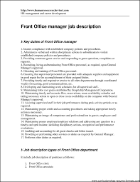 Office Manager Job Description Resume by Resume Format For Front Office Executive Free Samples Examples
