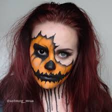 half halloween makeup torn pumpkin halloween makeup tutorial youtube