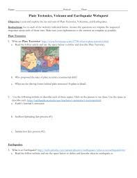 webquest on earthquakes and volcanoes
