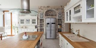 blue kitchen cabinets with wood countertops butcher block wood countertop pros and cons dumpsters