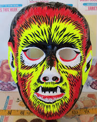 vintage collegeville scary werewolf halloween mask child