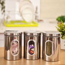 stainless steel canister sets kitchen aliexpress buy 3pcs stainless steel food storage canisters