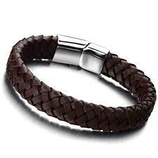 bracelet men leather images Minimalist brown braided leather bracelet for men jpg