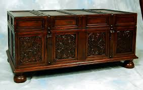 decoration ideas classy dark cherry wood carved storage trunk