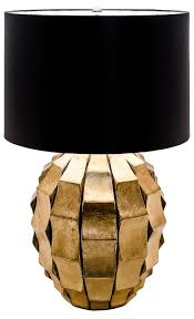 large gold chunky base modern table lamp black shade mulberry moon