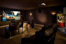Home Cinema Living Room Ideas Black Leather Seats On Khaki Carpet Connected By Dark Grey Wall