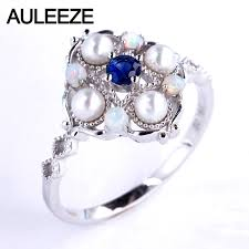 wedding rings opal images Auleeze genuine sapphire wedding ring natural pearl opal band 18k jpg