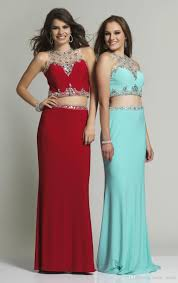 two pieces prom dresses mermaid style 2016 new arrival see though