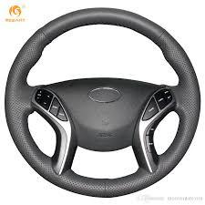 2011 black hyundai elantra mewant black genuine leather car steering wheel cover for hyundai