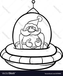 santa in spaceship coloring page royalty free vector image