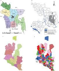 Map Of Bangladesh Panel A Map Of Bangladesh Showing The 7 Divisions Rangpur