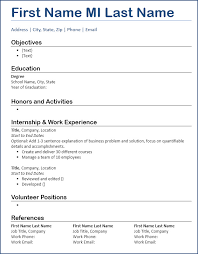 resume template entry level resume template free entry level focus blue underline