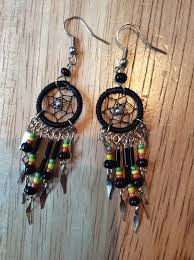 reggae earrings rasta dainty dreamcatcher earrings rasta fairies reggae