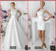 vestido de casamento two pieces style 2016 white lace short