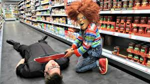 chucky attacks staff in supermarket halloween scare prank in real