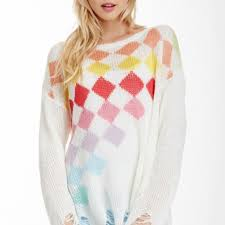 baggy sweaters 61 wildfox sweaters widfox white label rainbow checkers