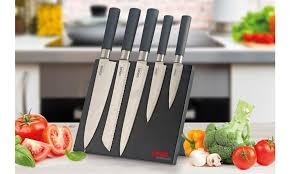 professional kitchen knives set cooks professional five knife set with magnetic block from
