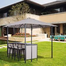 Patio Bar Table 3pc Outdoor Patio Bar Table Set Chairs W Sunshade Canopy Backyard