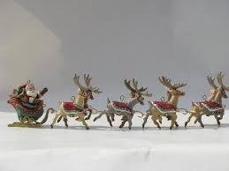 santa and eight tiny reindeer five part hallmark ornament
