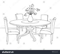 dining room round table part dining room round table chairs stock vector 604046339