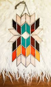 geometric wall art abstract art stained glass panel tiffany