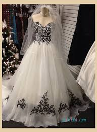 black and white wedding dress h1231 strapless black and white organza a line wedding dress