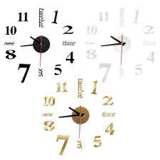 modern diy analog 3d mirror surface large number wall clock