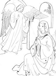 mary and the angel coloring page eson me