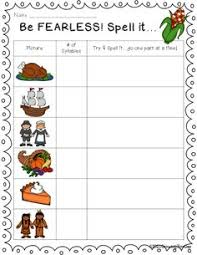 thanksgiving literacy activity syllable sort thanksgiving words