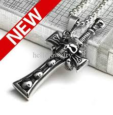 cross skull necklace images Wholesale punk jewelry skull sword cross mens pendant necklace jpg