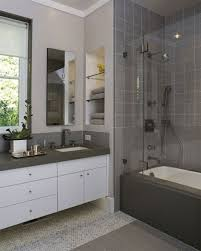 Bathroom With Bronze Fixtures Bathroom Remodel Budget White Bathtub Near White Floating Sink