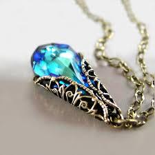 antique necklace pendant images Blue necklace bermuda blue swarovski teal green blue crystal jpg