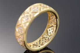 filigree wedding band 14k 4 3g 1 00 ctw cubic zirconia filigree wedding band yellow gold