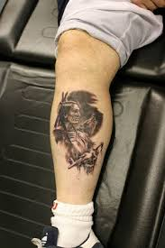 tattoos file leg tattoos with wolf and indian