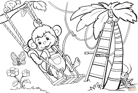 monkey is swinging from the tree coloring page free printable